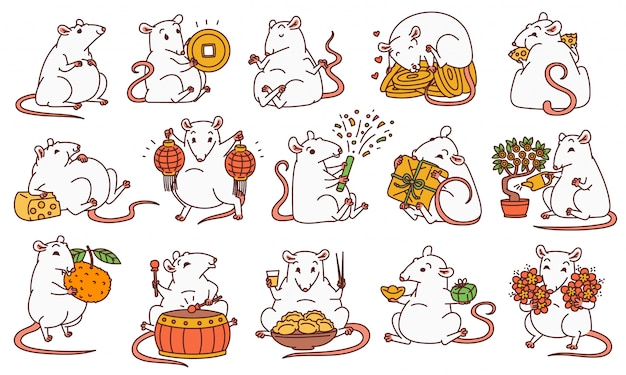 Rat set with different chinese new year symbols. cute mouse holds money and chinese lanterns eats cheese and festive food drums and lets off fireworks.  outline cartoon illustrations.