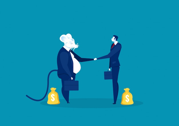 Rat shake hand with business people for invest