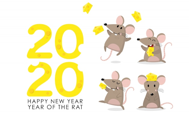 Rat with cheese greeting for 2020