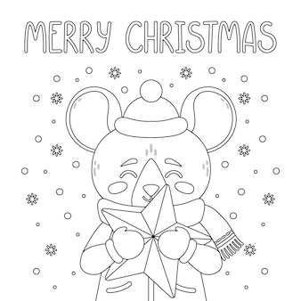 The rat with a star. merry christmas card.