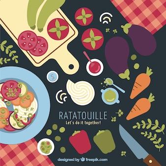 Ratatouille ingredients background