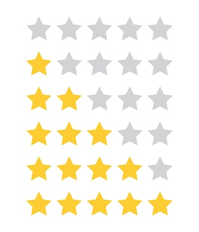 Rate 5 star customer product review flat icon for apps and websites vector isolatd on white background