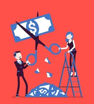 利下げ紙幣。男と女はハサミドルで切り、経済危機、一般的な不況、大衆財政へのストレス、システムの崩壊に苦しんでいます。ベクトルイラスト、顔のない文字