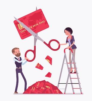 利下げクレジットカード。男性と女性が巨大なはさみで切り、経済が低迷し、大きな不況と金融市場の混乱に陥っているとき、銀行はパニックに陥ります。ベクトルフラットスタイルの漫画イラスト