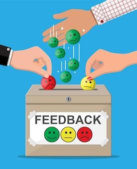 評価ボックス。レビュー笑顔の顔。お客様の声、評価、フィードバック、調査、品質、レビュー。