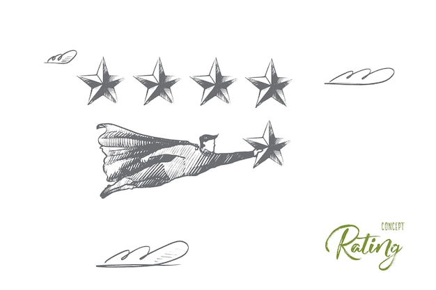 Rating concept. hand drawn superhero with 5-th star which mean win and best result. flying man holds rating star isolated illustration.