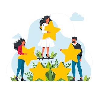 Rating concept. tiny people with stars. happy customers rate app, site, service. small women and men give feedback online, clients product review,satisfaction rating social media survey vector concept