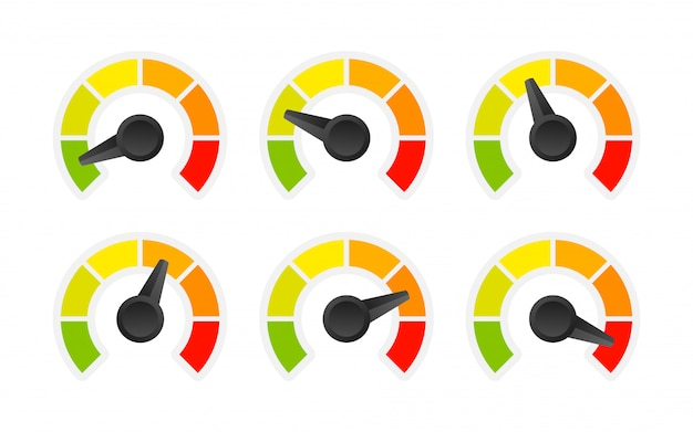Rating customer satisfaction meter. different emotions art  from red to green. abstract concept graphic element of tachometer, speedometer, indicators, score.   illustration.