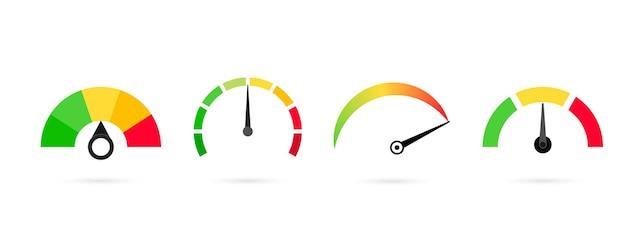 평가 고객 만족도 측정기, 속도계. 타코미터, 속도계, 표시기, 점수의 개념 그래픽 요소입니다. 신용 점수 지표는 나쁨에서 좋음으로 표시됩니다. 벡터 일러스트 레이 션