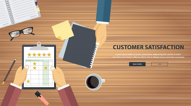 Rating on customer service illustration
