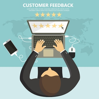 Rating on customer service illustration.