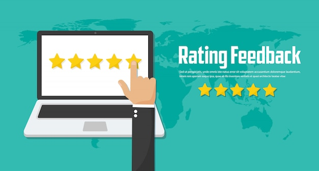 Rating on customer service. website rating feedback and review concept. flat vector