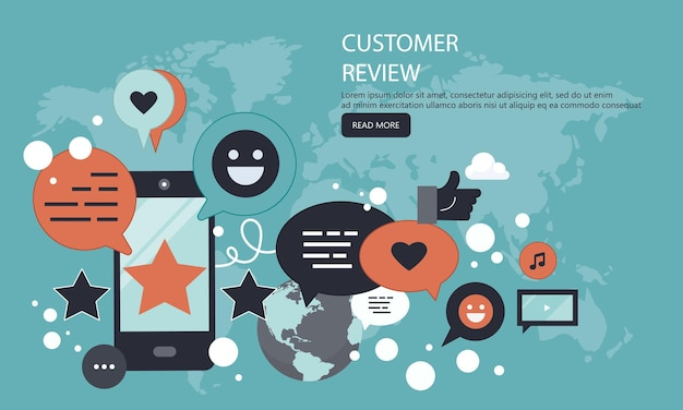 Rating and feedback on customer service banner