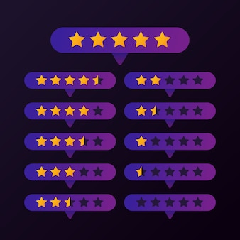 Rating gold stars set button on purple background vector