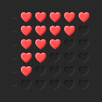 Rating icons red hearts neumorphic design life health bar on dark background