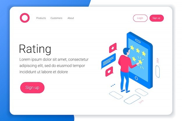Rating isometric concept. man puts a rating of 5 stars in a smartphone. flat 3d style. landing page template. illustration.