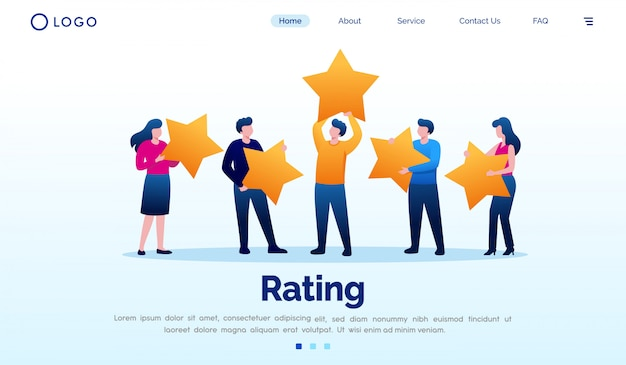 Rating landing page flat vector template