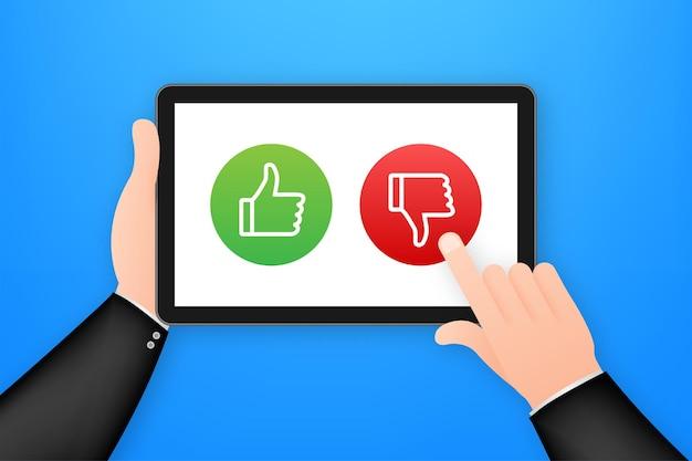 모바일 앱 평가. 인간의 손이 잡고 있습니다. 예 및 아니오 버튼이 있는 태블릿. 벡터 재고 일러스트 레이 션.