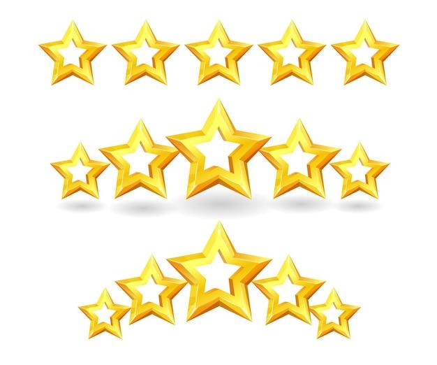 별점, 성공상, 만족도 리뷰 피드백. 5 점 평가 의견 등급 시스템 비율, 우수한 품질의 조언, 흰색 배경에 고립 된 긍정적인 평가 벡터 일러스트 레이 션