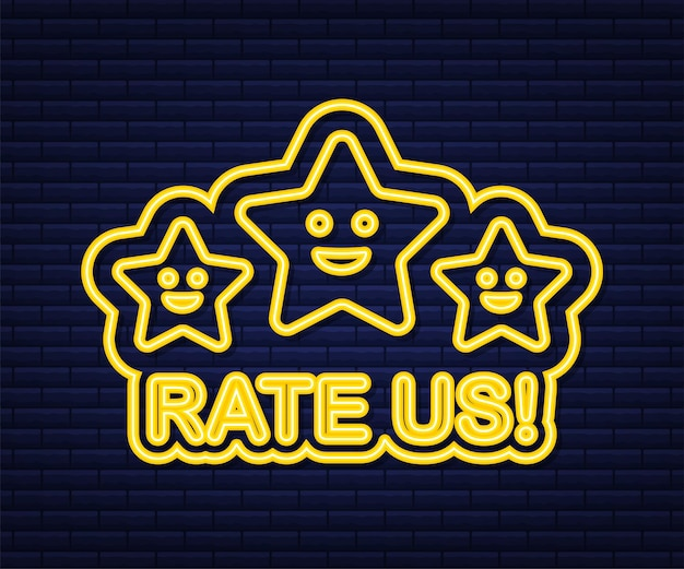 Рейтинг звезд. плоский дизайн. отзывы пользователей, рейтинг, концепция классификации. неоновая иконка. наслаждаемся приложением. оцените нас. векторная иллюстрация.