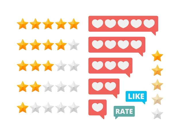 Rating stars. social assessment scores likes hearts symbols. illustration rating star and review vote