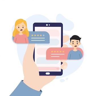 顧客からの評価とレビュー。フィードバックの概念図。スマートフォンを持っている手。
