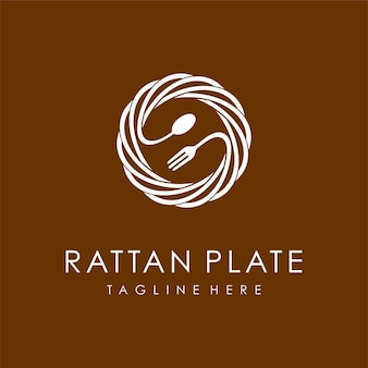 Rattan plates logo with spoon and fork concept