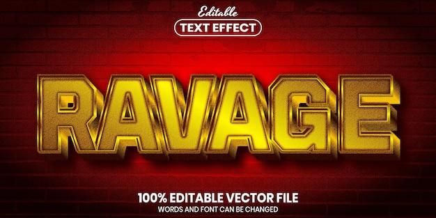 荒廃したテキスト、フォントスタイルの編集可能なテキスト効果