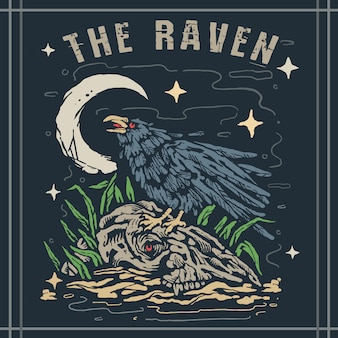 Raven bird on top of bones at night