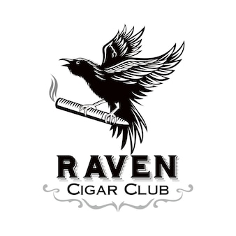 Raven bring the cigar, for cigar club logo