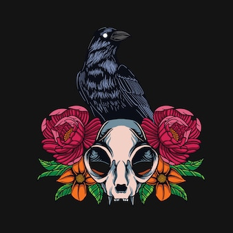 Raven and cat skull t-shirt design