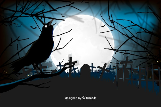 Raven in a cemetery halloween background