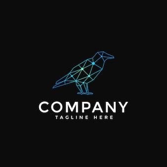 Raven crow technology bird logo vector
