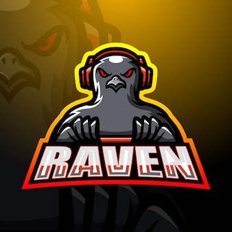 Raven game player esport mascot illustration