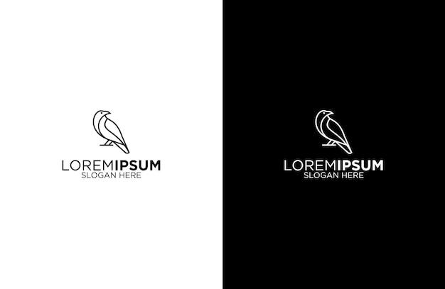 Raven line art логотип дизайн иллюстрация