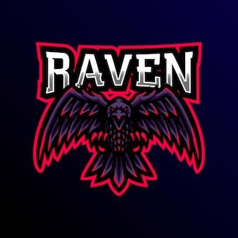 Ворон талисман логотип игровой киберспорт иллюстрации.