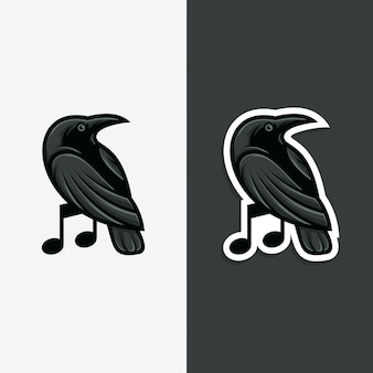 Raven music logo concept illustration.