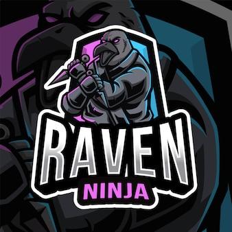 Шаблон логотипа raven ninja esport