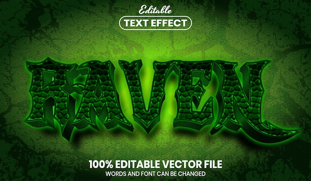 Raven text, font style editable text effect