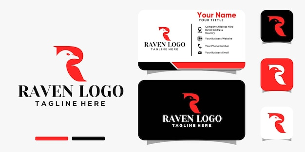 Raven with letter r logo and business card design vector template