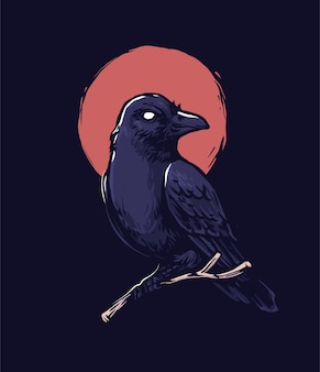 Raven with moon isolated on black