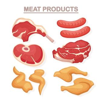 Сырое и жареное мясо, изолированные на белом фоне. говяжьи ребрышки, стейк, колбаса, свинина, куриное крылышко, ветчина. мясная лавка. плоская иллюстрация