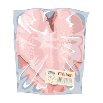 플라스틱 투명 포장에 생 닭 가슴살