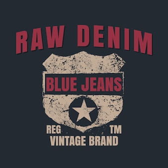 Raw denim graphic for t-shirt