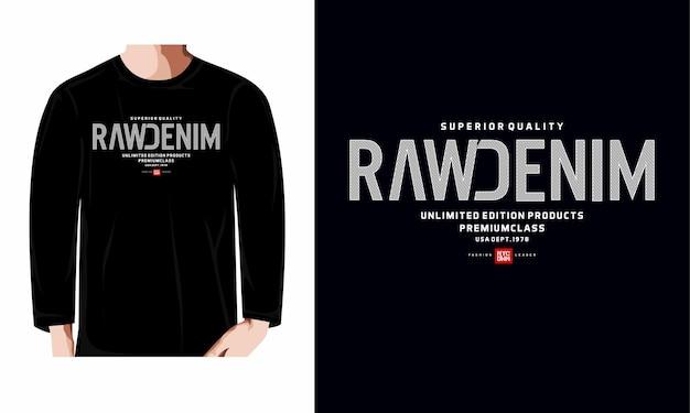 Raw denim usa typography tshirt design premium vector