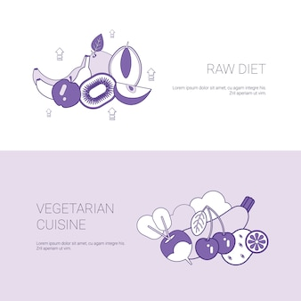 Raw diet and vegetarian cuisine concept template web banner with copy space