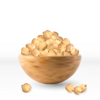 고립 된 그릇에 원시 건조 병아리 콩 곡물