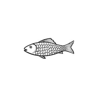 生の魚の手描きのアウトライン落書きアイコン。健康的なシーフードのベクトルスケッチイラスト-白い背景で隔離の印刷物、ウェブ、モバイル、インフォグラフィックのための水中の魚。