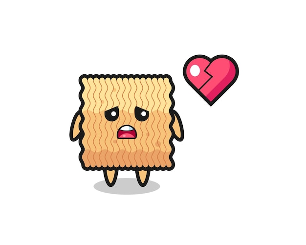 Raw instant noodle cartoon illustration is broken heart , cute style design for t shirt, sticker, logo element