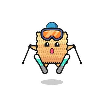 Персонаж-талисман из сырой лапши быстрого приготовления в качестве лыжника, милый стильный дизайн для футболки, наклейки, элемента логотипа
